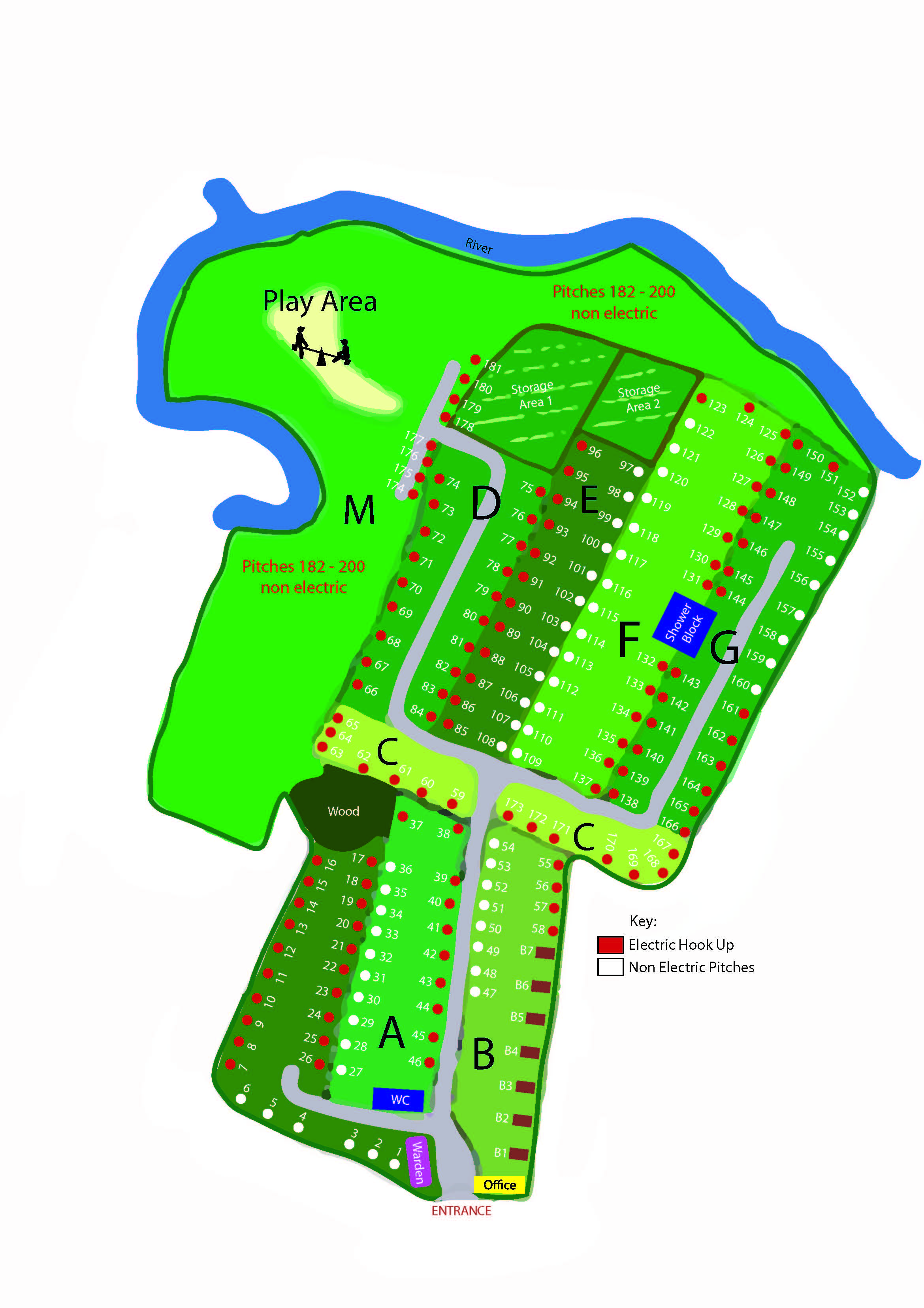 camp site plan and pitches Bournemouth